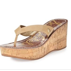 Sam Edelman Romy Cork Wedges Tan 9.5 EUC